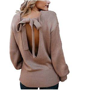 Beautiful women sexy Backless sweater